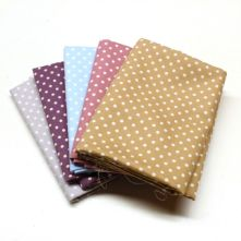 Pack of 5 Polka Dot 100% Cotton Fat Quarters in Muted Pastel Shades
